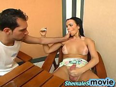 Sultry shemale and her boyfriend burning with desire for anal sex in café