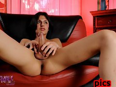 Naughty Alisha stripping and stroking