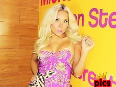 Blonde SheSlut PERCY PRINCESS sitting on a long pink dildo