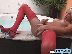 Hot tgirl in sexy red stockings jerking off