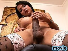 Sexy tgirl playing with her huge cock and wet asshole