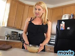 Horny Tyra pleases in the kitchen