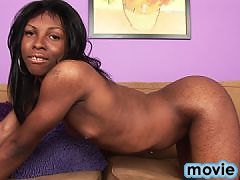 Black tgirl stripping and stroking