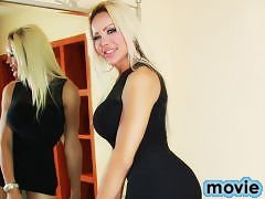 Super Curvy Shemale Azeneth mistreating her own SheDick in black
