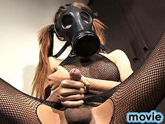 Exotic Donut fingering and peeing in a gas mask