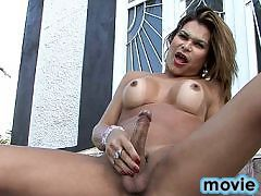 Seductive tgirl Viviane playing with her hot cock and ass