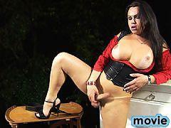 Busty tgirl beauty Leticia Brunni striptease
